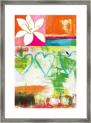 In Bloom- Colorful Heart And Flower Art Framed Print by Linda Woods