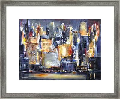 In Chicago Tonight Framed Print by Kathleen Patrick