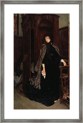 In Church, 1865 Framed Print by James Jacques Joseph Tissot