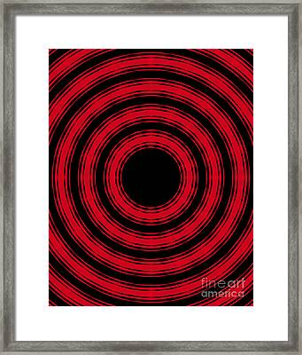 Framed Print featuring the painting In Circles- Red Version by Roz Abellera Art