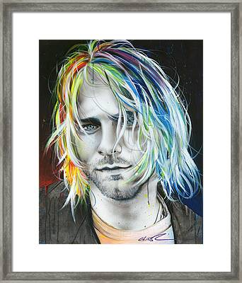 Kurt Cobain - ' In Debt For My Thirst ' Framed Print by Christian Chapman Art
