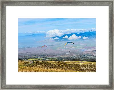 In Flight - Paragliders Taking Off High Over Maui. Framed Print by Jamie Pham