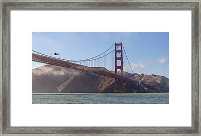 In Flight Over Golden Gate Framed Print by Scott Campbell