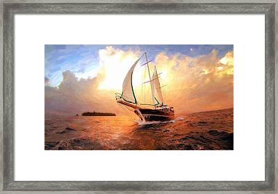 In Full Sail - Oil Painting Edition Framed Print