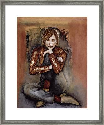 In Her World, 2005 Pen & Ink With Oil On Paper Framed Print by Stevie Taylor