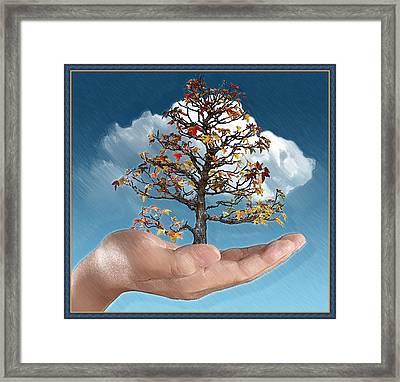 In His Hands Framed Print by John Haldane