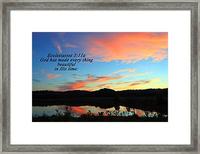 In His Time Framed Print
