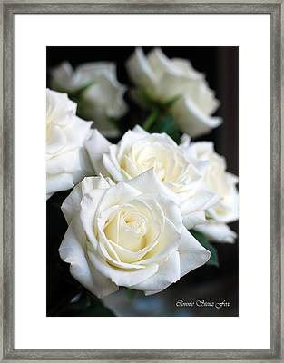 In My Dreams - White Roses Framed Print by Connie Fox