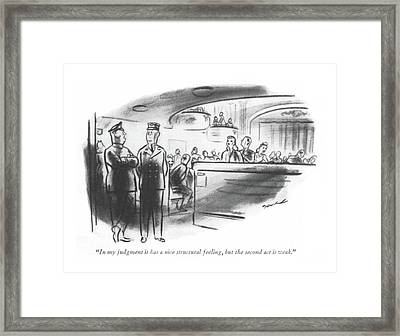 In My Judgment It Has A Nice Structural Feeling Framed Print by Leonard Dove