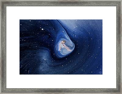 In My Safe Dreambubble Through Space Framed Print