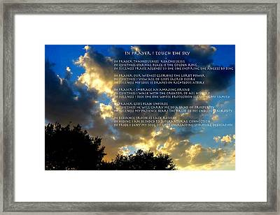 In Prayer I Touch The Sky Framed Print by David  Norman