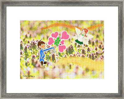 In Purple Deadnettle Forest Framed Print by Pen Osawa