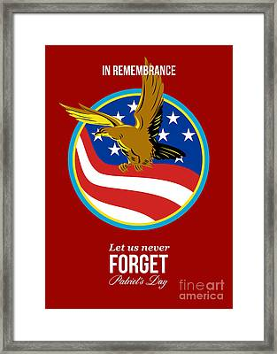 In Remembrance Patriots Day Retro Poster Framed Print by Aloysius Patrimonio
