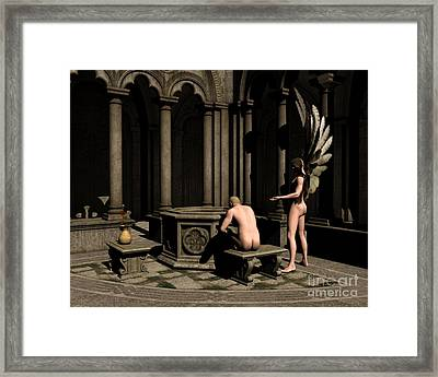 In Silence He Found Himself - Angel Art Framed Print by Sipo Liimatainen