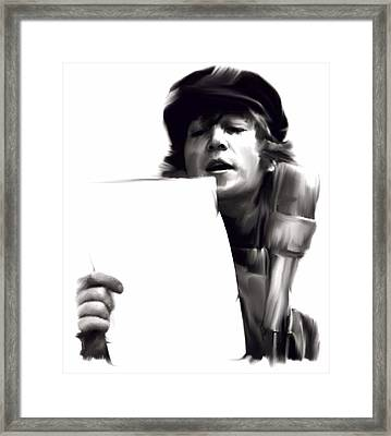 In Studio John Lennon Framed Print by Iconic Images Art Gallery David Pucciarelli