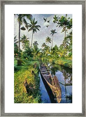 In The Backwaters Of Kerala Framed Print