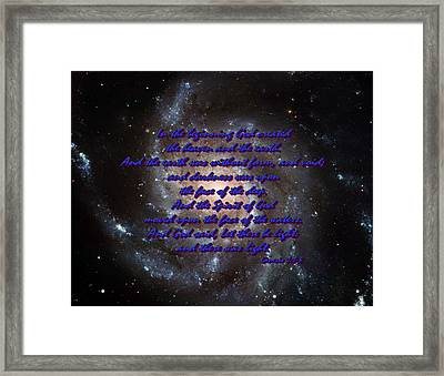 In The Beginning God Genesis 1 1-3 Framed Print by L Brown