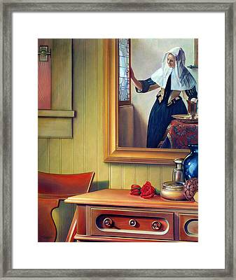 In The Boudoir With Vermeer Framed Print by Patrick Anthony Pierson