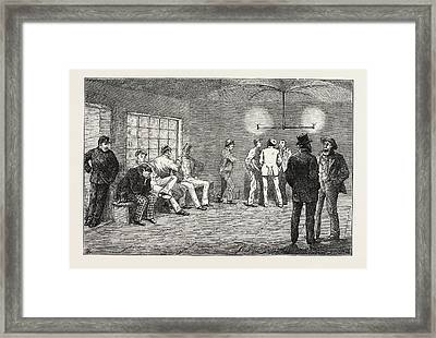 In The Cellars At Newgate Prisoners Waiting For The Court Framed Print by English School