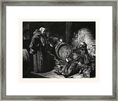 In The Cloister Cellar Framed Print by Gr?tzner, Eduard Theodor Ritter Von (1846-1925), German