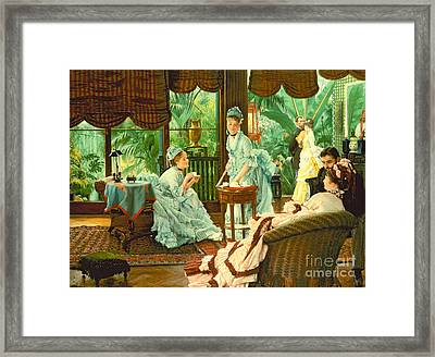In The Conservatory  Framed Print by James Jacques Tissot