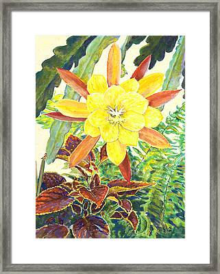 In The Conservatory - 3rd Center - Yellow Framed Print