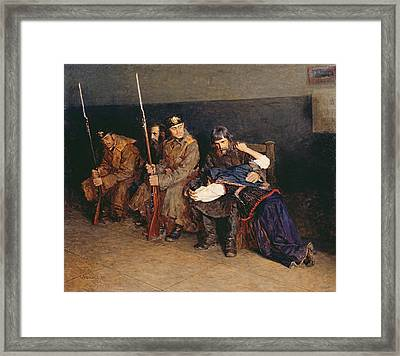 In The Corridor Of The District Court Framed Print by Nikolaj Alekseevich Kasatkin