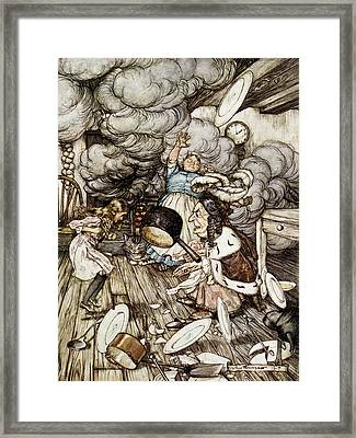 In The Duchesss Kitchen, Illustration To Alices Adventures In Wonderland By Lewis Carroll 1832-98 Framed Print by Arthur Rackham