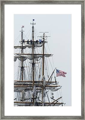 In The Eagle's Rigging With Flag Opsail 2012 Framed Print by Marianne Campolongo