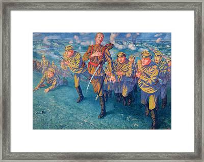 In The Firing Line Framed Print by Kuzma Sergeevich Petrov-Vodkin
