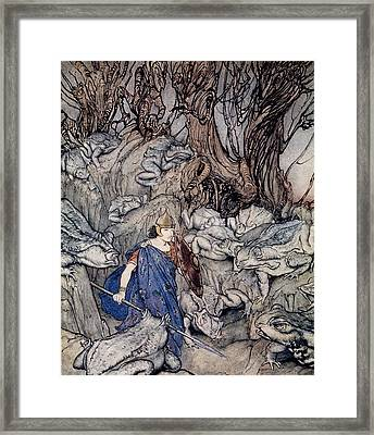 In The Forked Glen Into Which He Slipped At Night-fall He Was Surrounded By Giant Toads Framed Print by Arthur Rackham