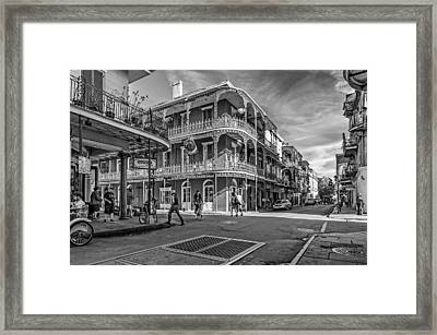 In The French Quarter Monochrome Framed Print by Steve Harrington