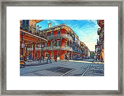 In The French Quarter Painted Framed Print by Steve Harrington