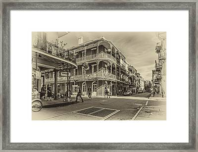 In The French Quarter Sepia Framed Print by Steve Harrington