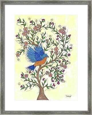In The Garden - Bluebird Framed Print by Susie WEBER