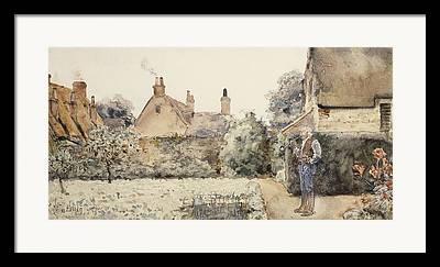 Chinese Man Smoking Pipe Paintings Framed Prints