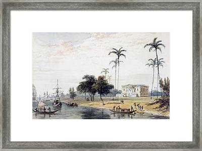 In The Garden House Reach, Calcutta Framed Print