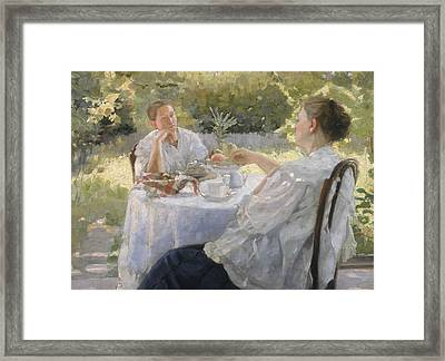 In The Garden Framed Print by Lukjan Vasilievich Popov