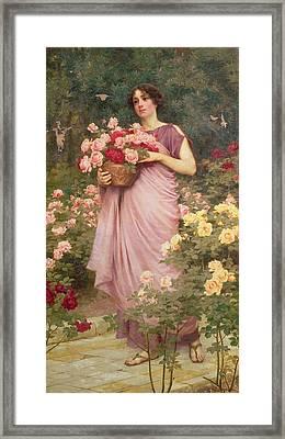 In The Garden Of Roses Framed Print