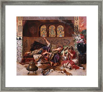 In The Harem Framed Print by Rudolphe Ernst