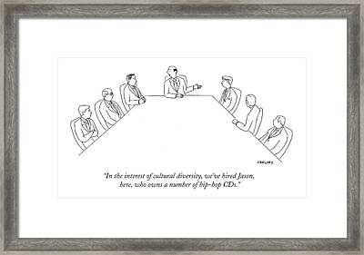 In The Interest Of Cultural Diversity Framed Print by Alex Gregory