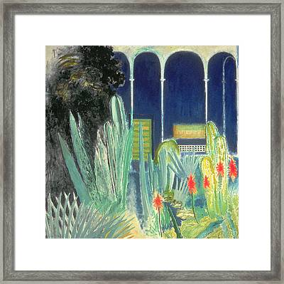 In The Majorelle Gardens Oil On Canvas Framed Print