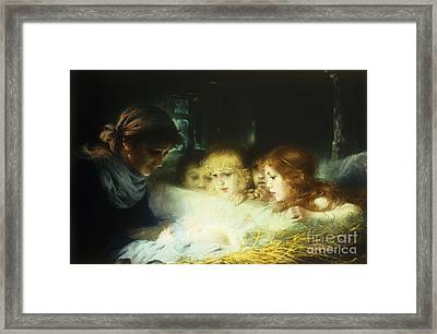In The Manger Framed Print by Hugo Havenith