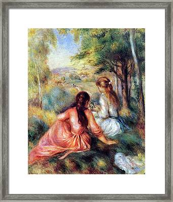 Framed Print featuring the painting In The Meadow by Pierre-Auguste Renoir
