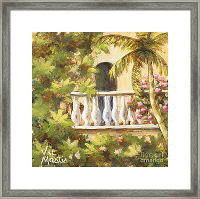 In The Oasis With Gold Leaf By Vic Mastis Framed Print by Vic  Mastis