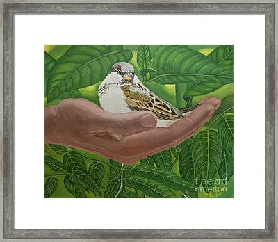 In The Palm Of His Hand Framed Print
