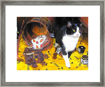 In The Paris Chocolate Shop Window Framed Print by Jan Matson