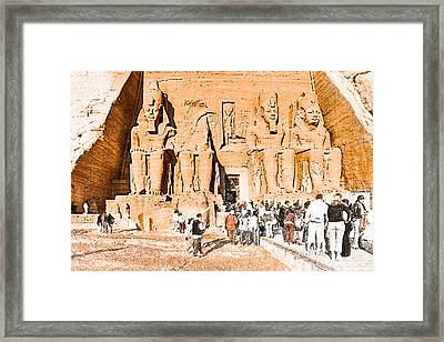 In The Presence Of Ramses II At Abu Simbel Framed Print by Mark E Tisdale