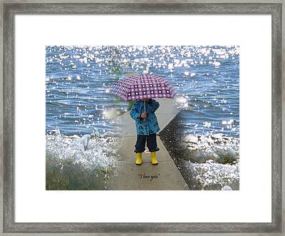 In The Rain I Love You Framed Print by Kim Prowse