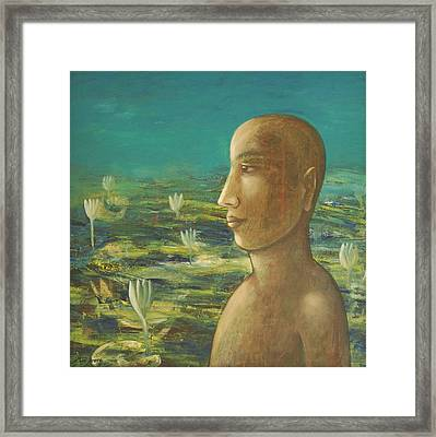 Framed Print featuring the painting In The Realm Of Buddha by Mini Arora